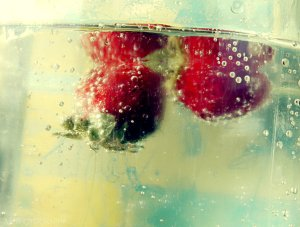 """More strawberries. I like to look at the bubbles because it reminds me of condensation on a cool glass of water in the summer."""